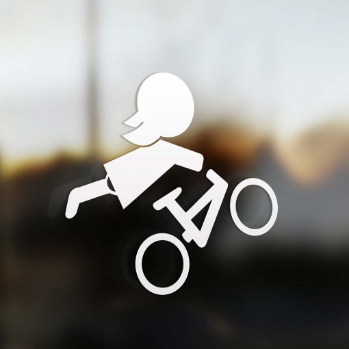 Family Girl mountain bike rider sticker