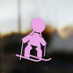 Family Girl sticker skier pink