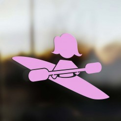 Family Mom sticker kayaker pink