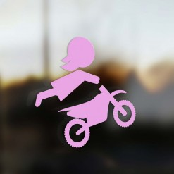 Family Mom sticker motocross rider pink