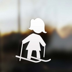 Family Mom sticker skier