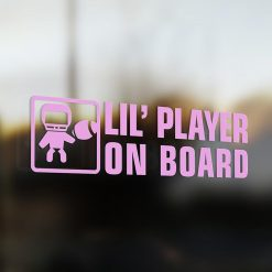 Lil' football player on board car sticker
