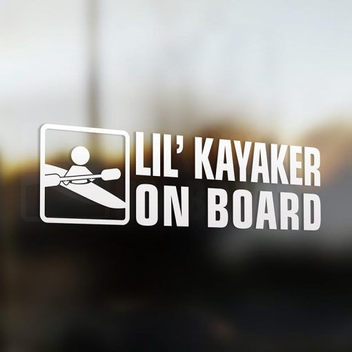 Lil' kayak on board car sticker decal white