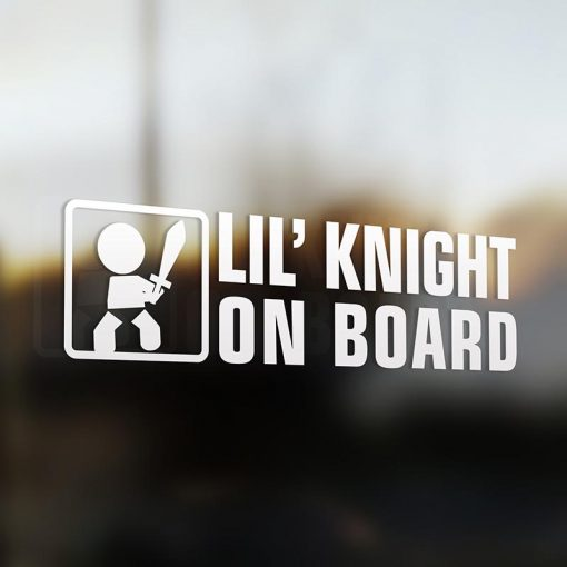 Lil' knight on board car sticker decal white