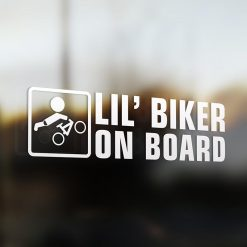 Lil' mountain bike rider on board car sticker